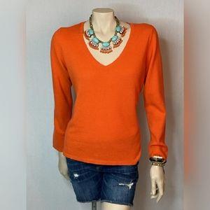 Ann Taylor Orange Cashmere V Neck SZ XL